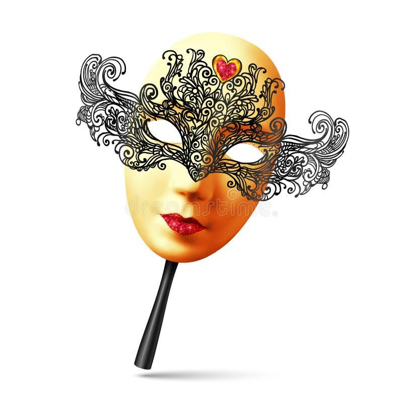 Wektorowa złota pełnej twarzy karnawału ozdobna maska z czarną rękojeścią ilustracji