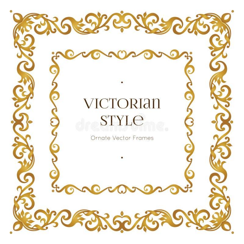 Wektorowa złota rama w wiktoriański stylu royalty ilustracja