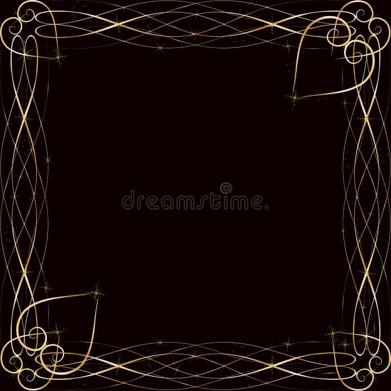 Wektorowa złota rama z światło skutkami Olśniewający prostokąta sztandar Na czarnym tle Wektorowa ilustracja, eps 10 ilustracja wektor