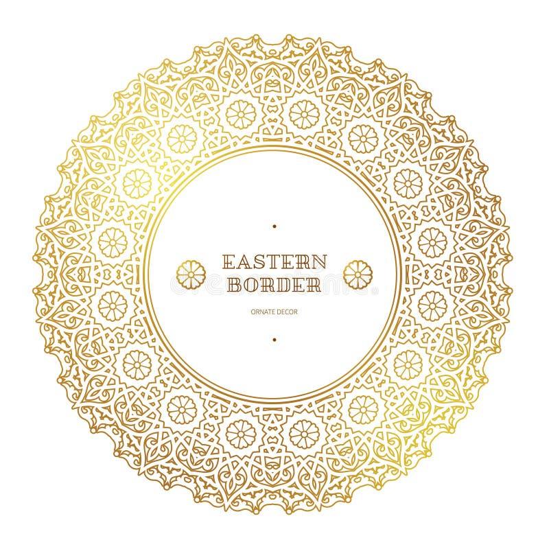 Wektorowa złota round rama w Wschodnim stylu ilustracja wektor