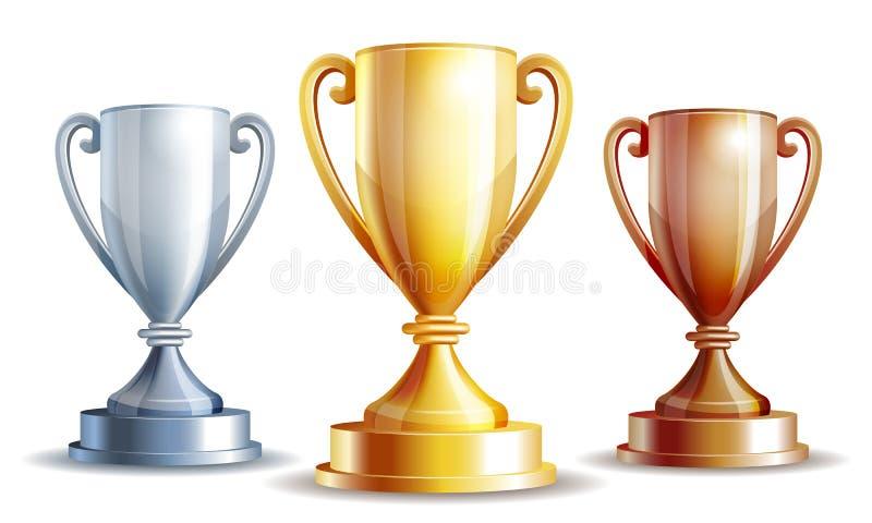 Wektorowa złota, srebra i brązu zwycięzców filiżanka, ilustracji