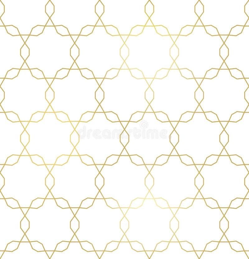 Wektorowa złota tekstura, modny złoto wykłada bezszwowego wzór royalty ilustracja