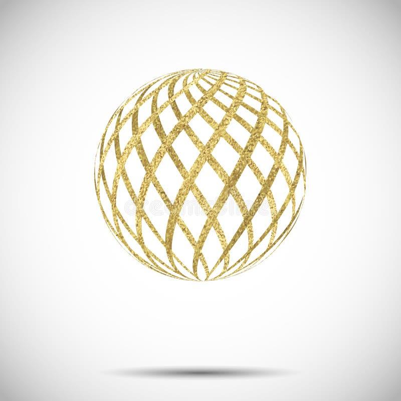 Wektorowa złota textured sfery piłka z ornamentem i lampasami ilustracji
