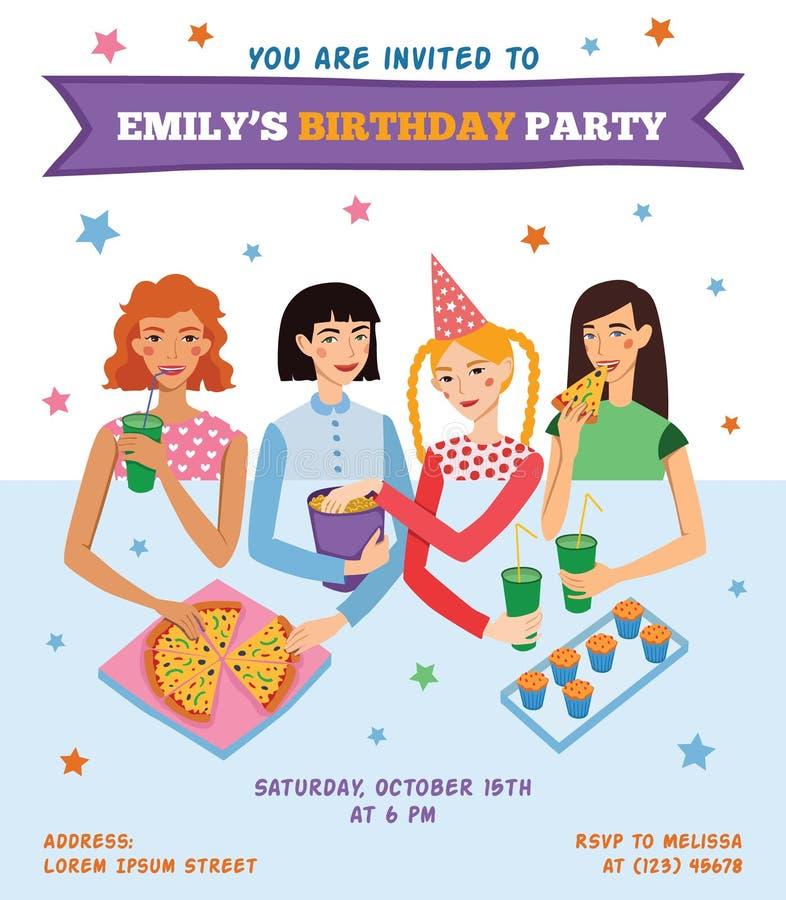 Wektorowa zaproszenie ulotki karta Dla nastoletniej dziewczyny przyjęcia urodzinowego ilustracji
