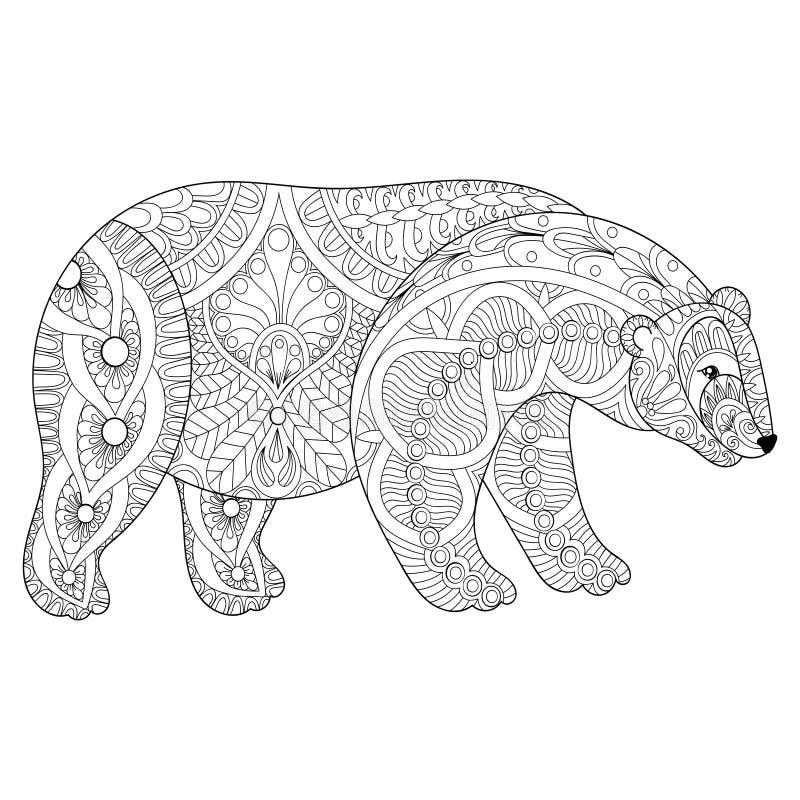Wektorowa zentangle niedźwiedzia polarnego głowa dla dorosłej antej stres kolorystyki ilustracji