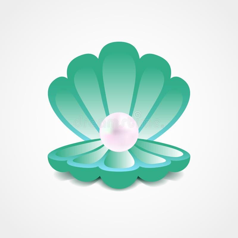 Wektorowa zieleni skorupa z perłą inside ilustracja wektor