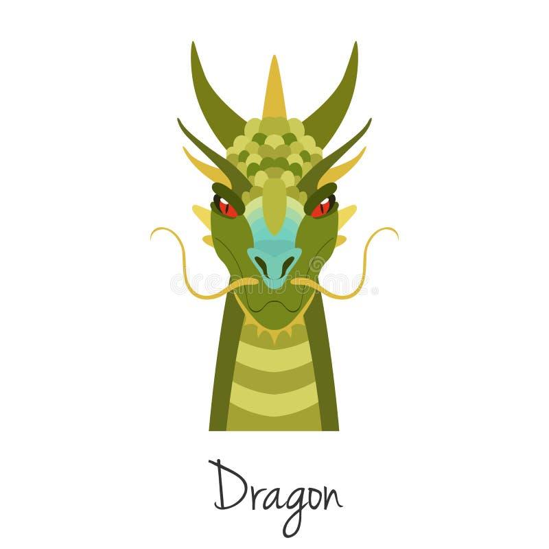 Wektorowa Zielonego smoka twarz odizolowywająca Zwierzę Chiński zodiaka symbol royalty ilustracja