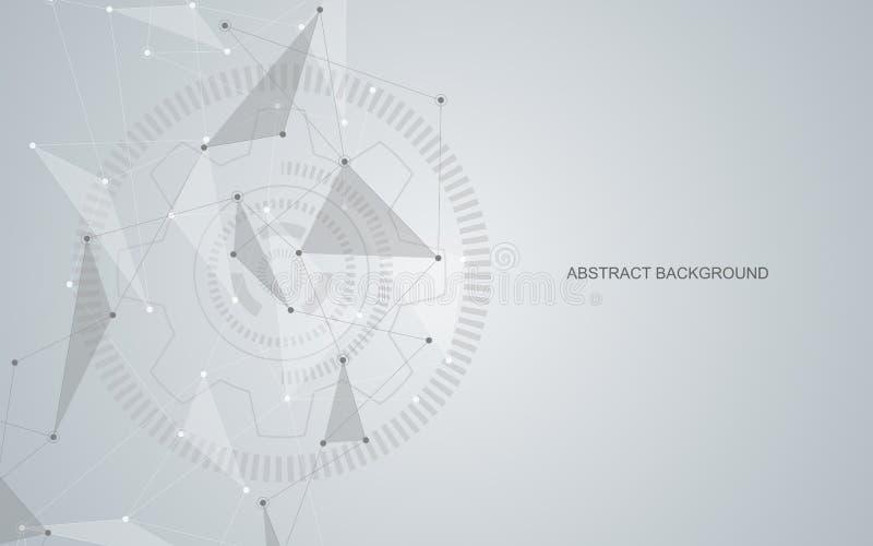 Wektorowe łączy kropki i linie Globalnej sieci związek Geometryczny związany abstrakcjonistyczny tło ilustracja wektor