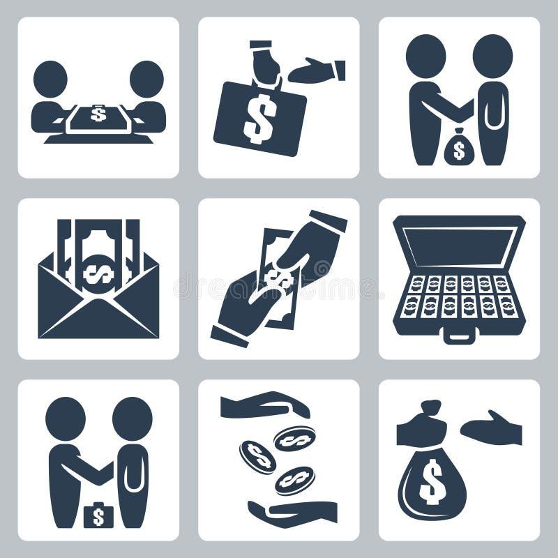 Wektorowe łapówki, tranzakcja ikony ustawiać/ ilustracji