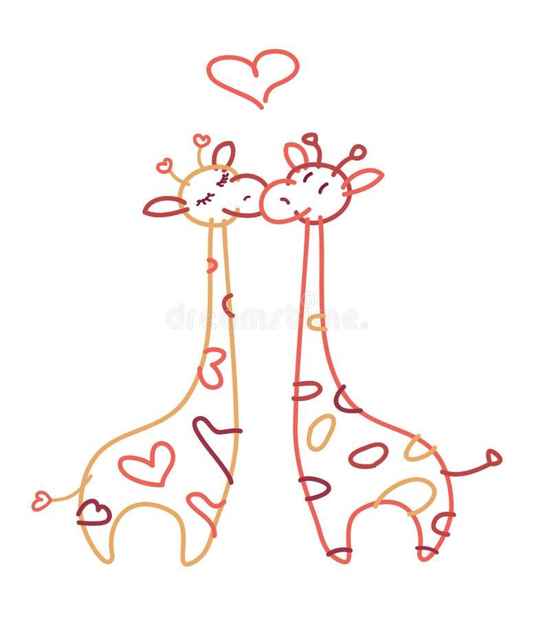 Wektorowe śliczne żyrafy w miłości royalty ilustracja