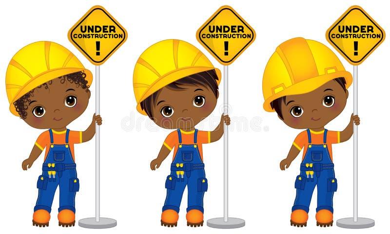 Wektorowe Śliczne Małe amerykanin afrykańskiego pochodzenia chłopiec Trzyma znaki - W Budowie royalty ilustracja