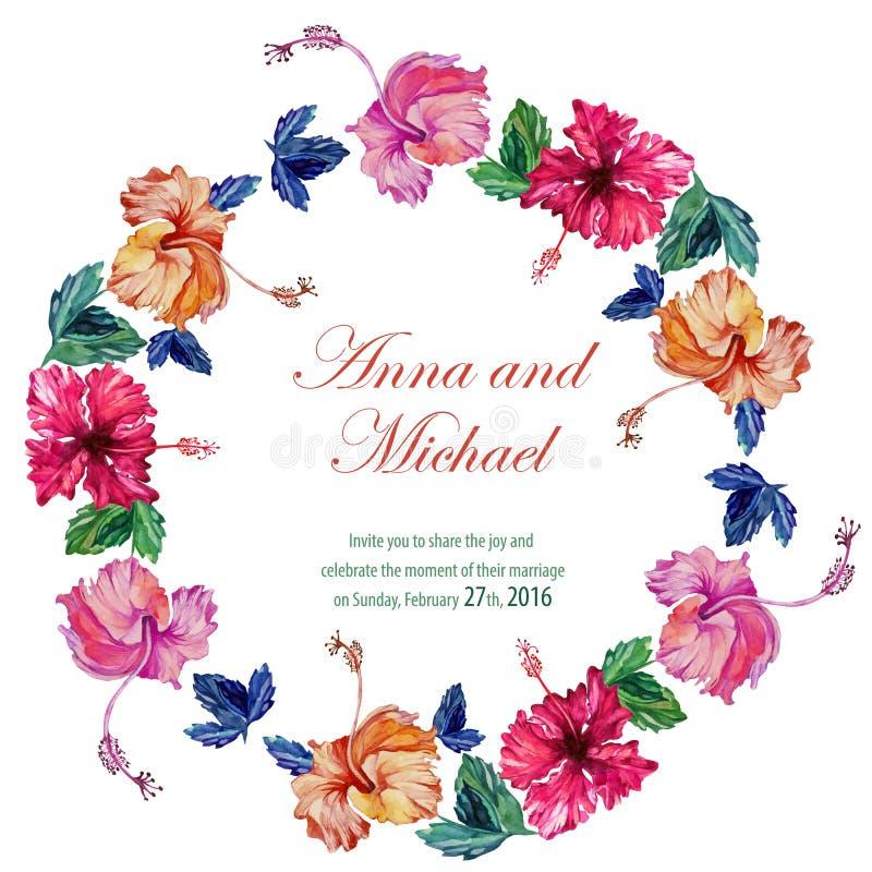 Wektorowe ślubne karty z akwarelą ilustracja wektor