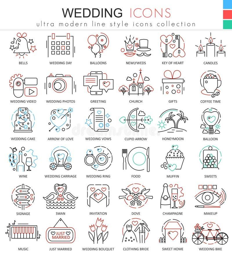 Wektorowe Ślubne kolor linii konturu ikony dla apps i sieć projekta Ślubne ikony ilustracja wektor
