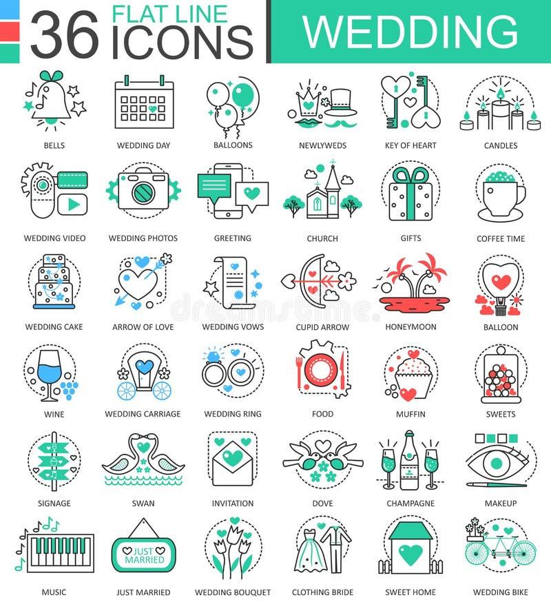 Wektorowe Ślubne mieszkanie linii konturu ikony dla apps i sieć projekta Ślubna ikona royalty ilustracja