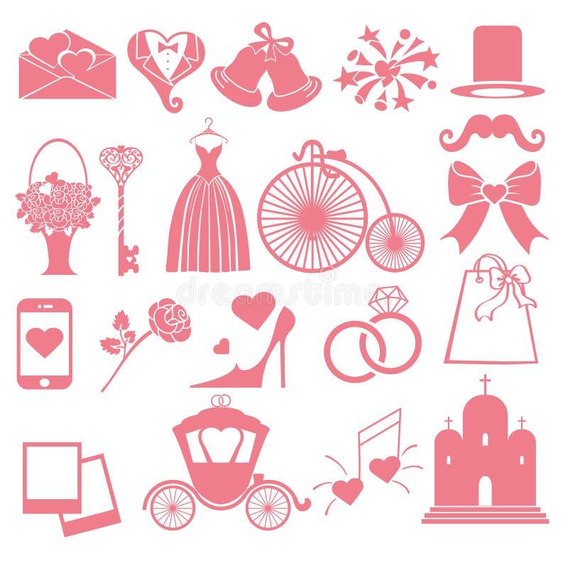 Wektorowe Ślubne płaskie ikony ustawiać dla sieci i wiszącej ozdoby royalty ilustracja