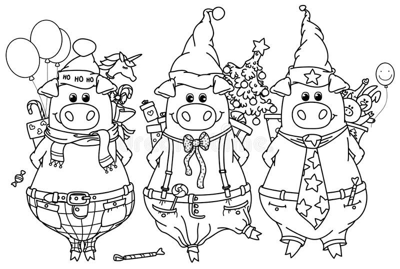 Wektorowe śmieszne świnie z prezentami royalty ilustracja