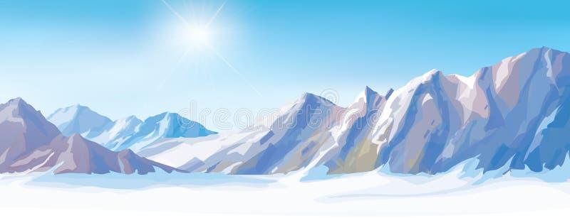 Wektorowe śnieżne góry ilustracja wektor