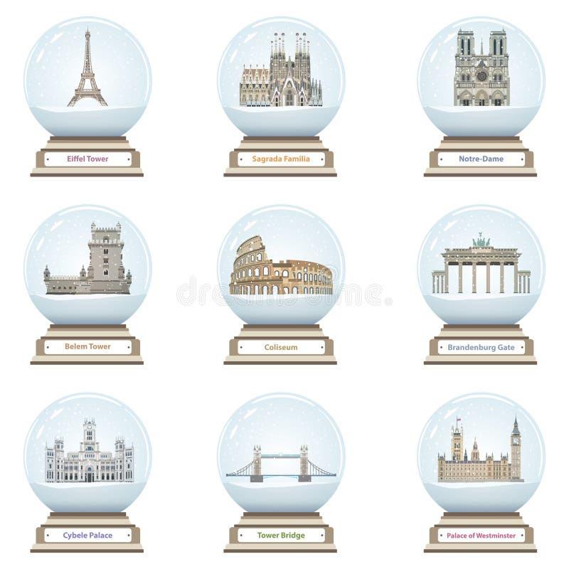 Wektorowe śnieżne kule ziemskie z europejskimi punkt zwrotny ikonami inside royalty ilustracja