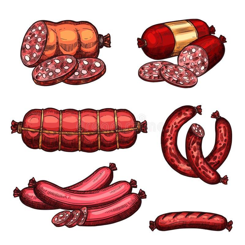Wektorowe świeżego mięsa kiełbas produktów nakreślenia ikony royalty ilustracja