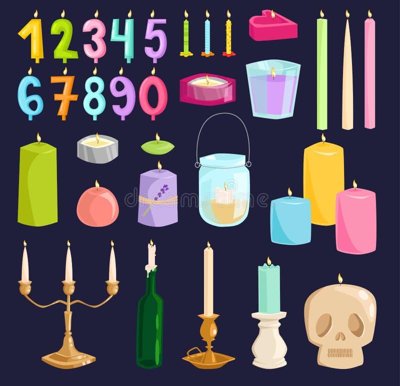 Wektorowe świeczek liczby z kością podpalają wektorowych dekoracyjnych stylowych elementy ilustracja wektor