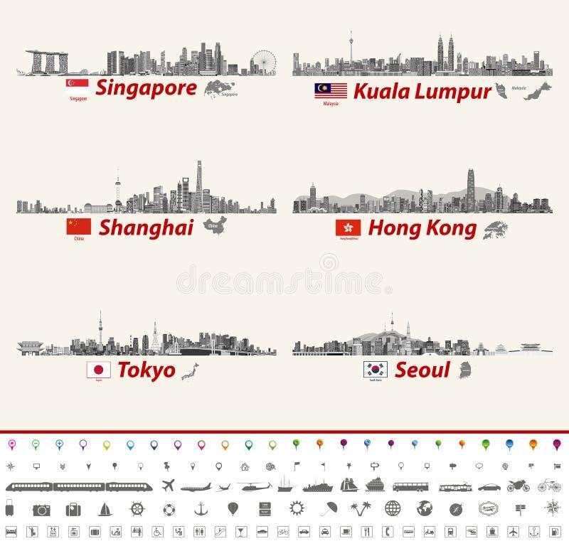 Wektorowe abstrakcjonistyczne miasto linie horyzontu Singapur, Kuala Lumpur, Szanghaj, Hong Kong, Tokio i Seul, ilustracja wektor