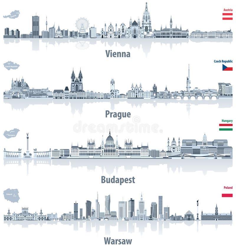 Wektorowe abstrakcjonistyczne miasto linie horyzontu Wiedeń, Praga, Budapest ilustracji