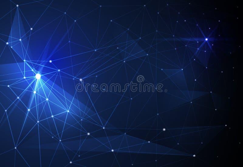 Wektorowe Abstrakcjonistyczne molekuły i technologia komunikacyjna na błękitnym tle Futurystyczny technologii cyfrowej pojęcie ilustracji