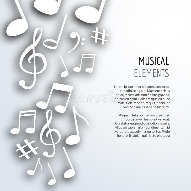 Wektorowe abstrakcjonistyczne muzyk notatki z cieniami na białym odosobnionym tle Muzykalny pojęcie royalty ilustracja