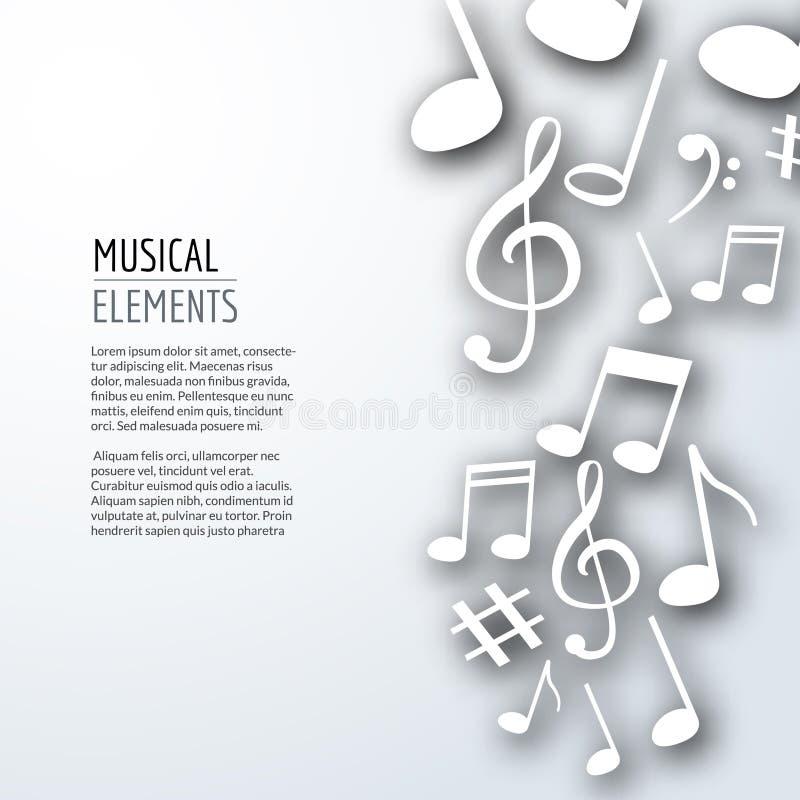Wektorowe abstrakcjonistyczne muzyk notatki z cieniami na białym odosobnionym tle Muzykalny pojęcie ilustracja wektor
