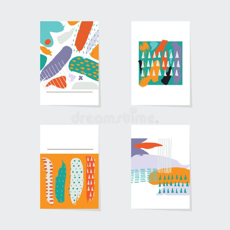 Wektorowe abstrakt karty ustawiać Ręki rysujący elemens w jaskrawych kolorach kropki punkty i muśnięć uderzenia w niedokonanym st royalty ilustracja