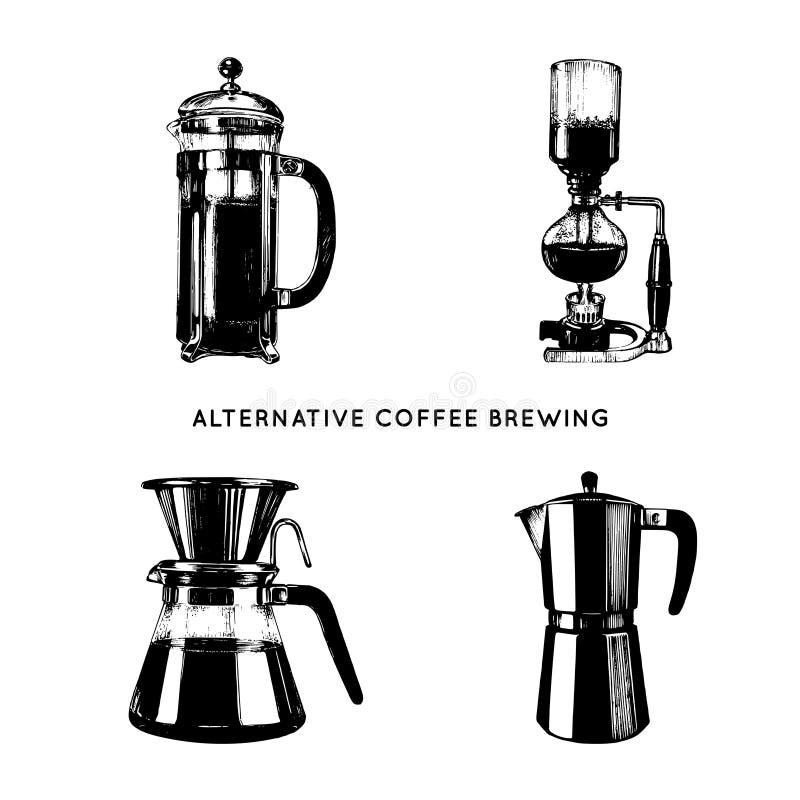 Wektorowe alternatywne kawowe browarniane ilustracje ustawiać Ręka kreślił różnych kawowych producentów Kawiarnia, restauracyjny  royalty ilustracja
