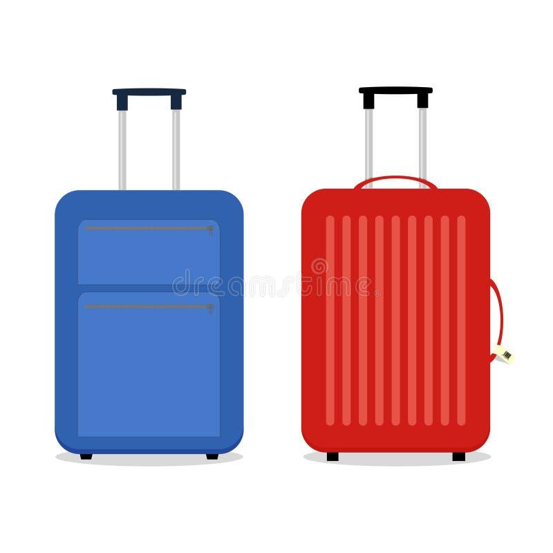 Wektorowe błękitne i czerwone podróży torby Na biel royalty ilustracja