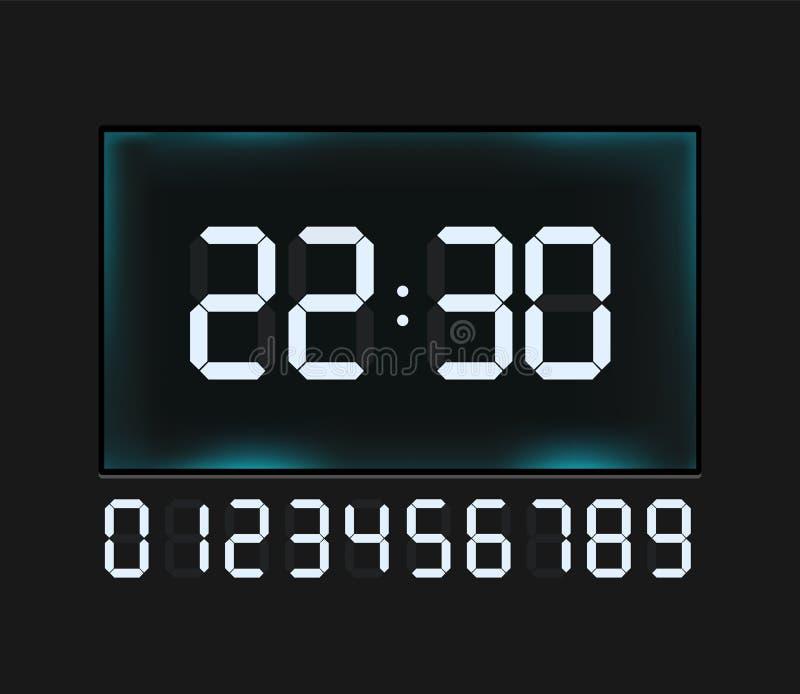 Wektorowe błękitne rozjarzone cyfrowe liczby - odliczanie zegar royalty ilustracja