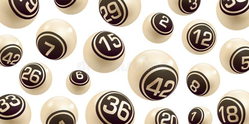 Wektorowe Beżowe Bingo, loterii Numerowe piłki/Ustawiają odosobnionego royalty ilustracja