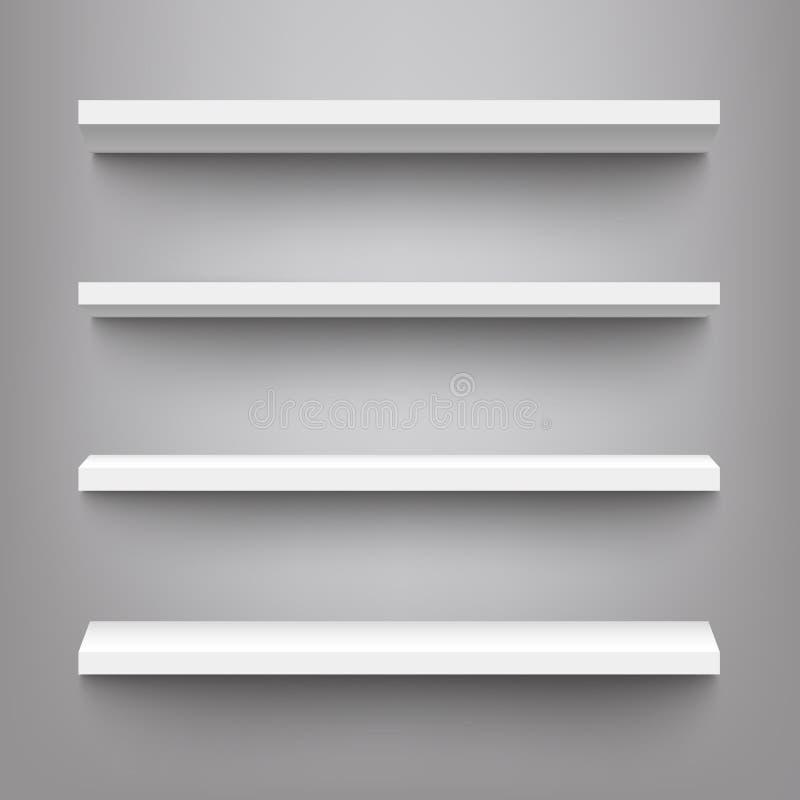 Wektorowe białe półki dla produktu pokazu mockup ilustracji
