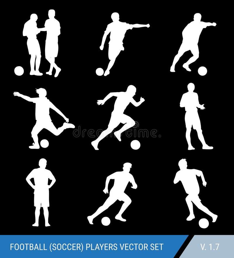 Wektorowe białe sylwetki gracz futbolu na czarnym tle Sędzia i gracze, różne pozy, wektoru set Gracz futbolu royalty ilustracja
