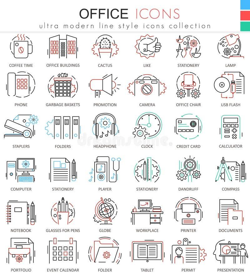 Wektorowe Biurowe koloru mieszkania linii konturu ikony dla apps i sieć projekta Biurowe elementów narzędzi ikony ilustracji