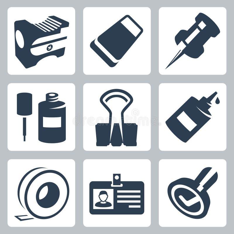 Wektorowe biurowe materiały ikony ustawiać ilustracja wektor