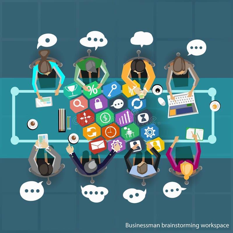 Wektorowe biznesmena Brainstorming pracy przemierzają i spotkanie na stołowym odgórnym widoku ilustracji
