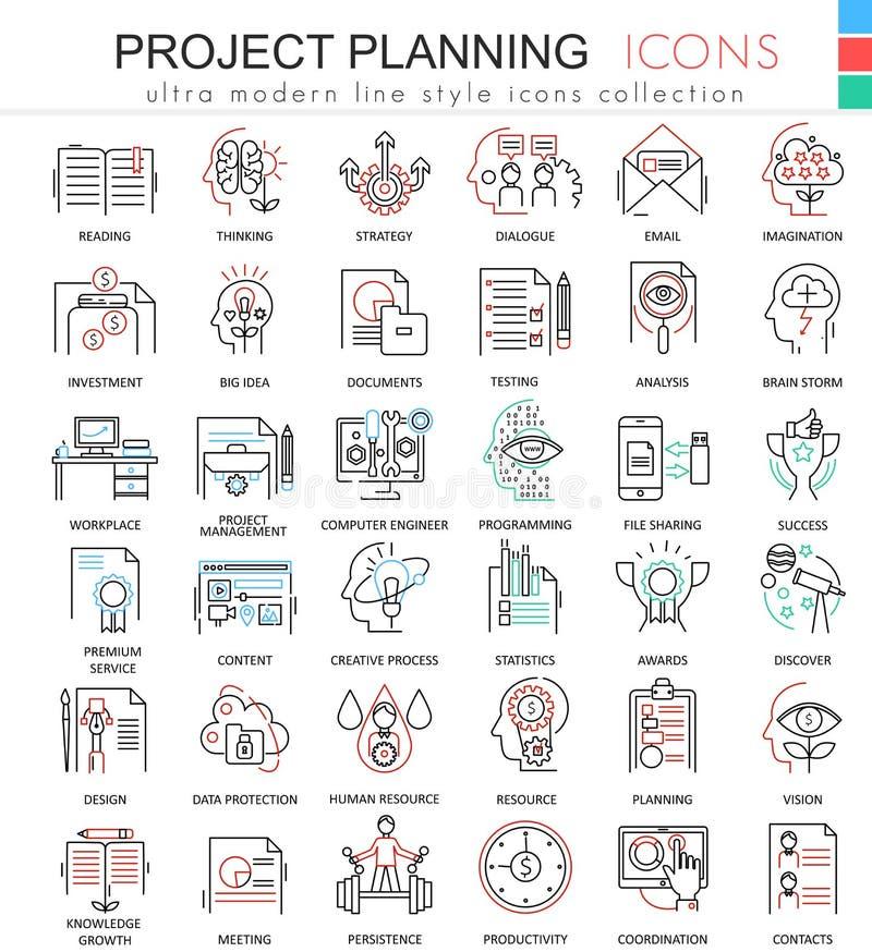 Wektorowe biznesu finanse projekta planowania koloru konturu linii ultra nowożytne ikony dla apps i sieć projekta ilustracji