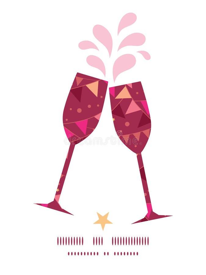 Wektorowe boże narodzenie dekoracj flaga wznosi toast wino ilustracja wektor