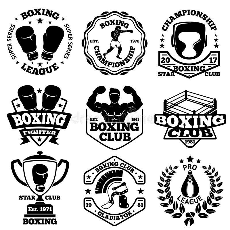 Wektorowe boks etykietki ustawiać z - bokserem, hełm, gladiator, czara, bobek, pierścionek, rękawiczki royalty ilustracja