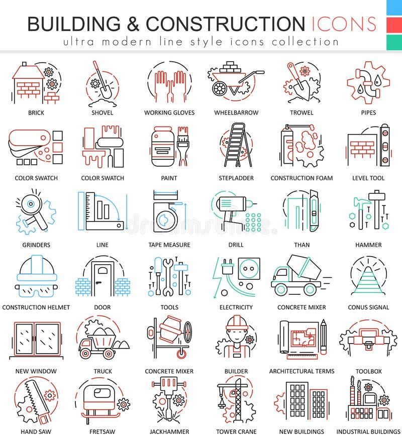 Wektorowe budynek budów koloru linii konturu ikony dla apps i sieć projekta Odziewa but ikony ilustracji