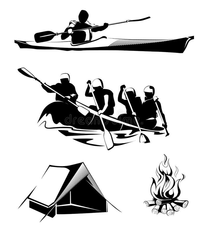 Wektorowe campingowe flisactwo etykietki, logowie, emblematy ilustracji