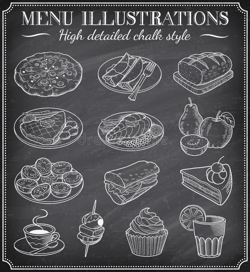 Wektorowe Chalkboard jedzenia ilustracje ilustracja wektor
