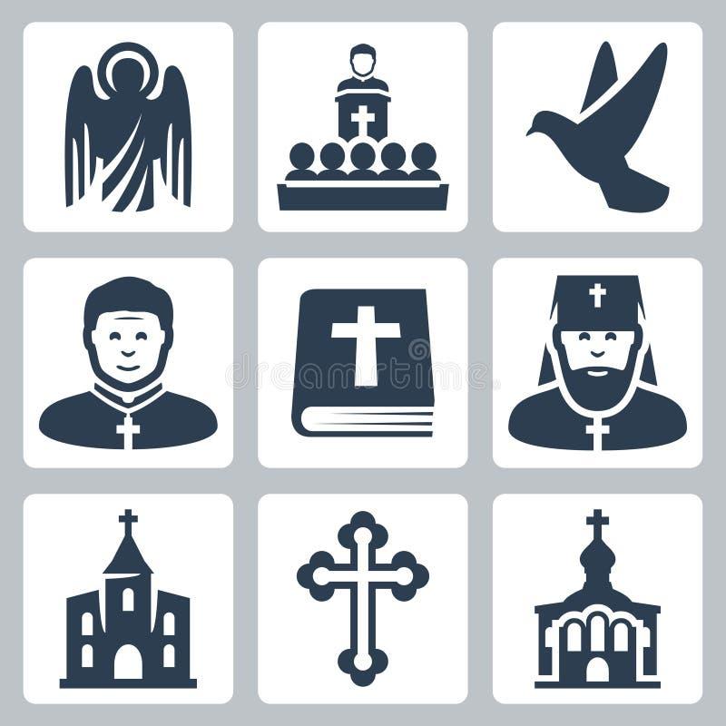 Wektorowe Chrześcijańskie religii ikony ilustracja wektor