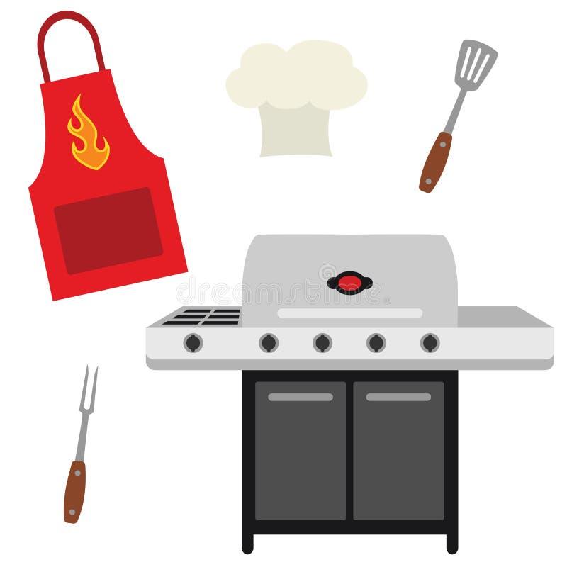 Wektorowe Cookout grilla naczyń fartucha szefa kuchni kapeluszu ilustracje royalty ilustracja