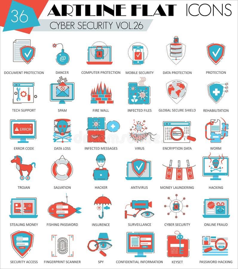 Wektorowe Cyber ochrony konturu artline mieszkania linii ultra nowożytne ikony dla sieci i apps ilustracji