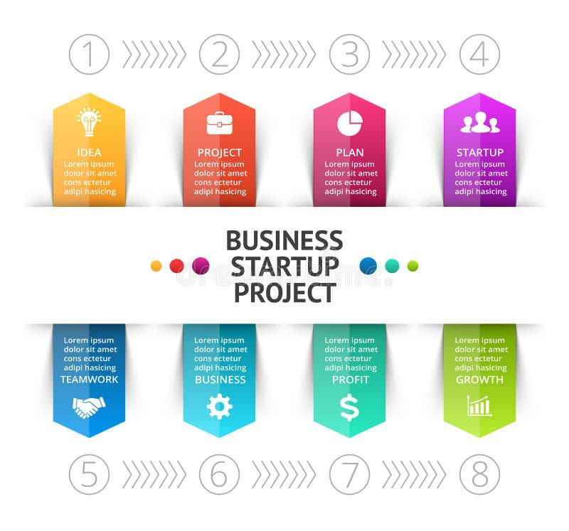 Wektorowe cykl strzała infographic, diagram, wykres, biznesowa prezentacja, mapa 8 opcj, części, kroki, procesy info ilustracji