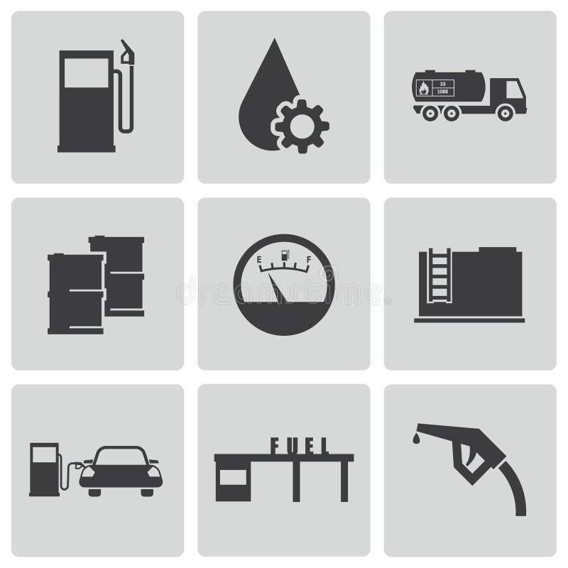 Wektorowe czarne benzynowej staci ikony ustawiać ilustracja wektor